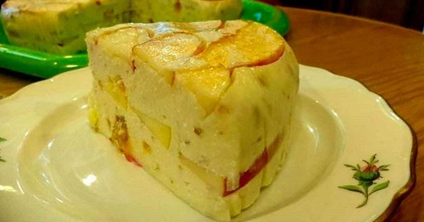 Творожный торт с яблоками без выпечки: вкуснейшее лакомство к чаю