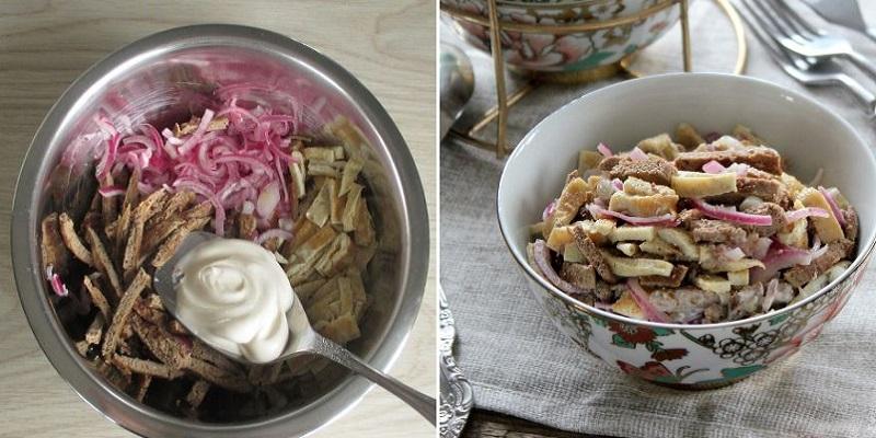Обалденный салат из печеночных блинов