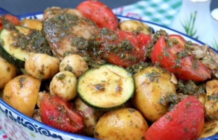 Аппетитные куриные бедра с кабачками и картошкой в духовке