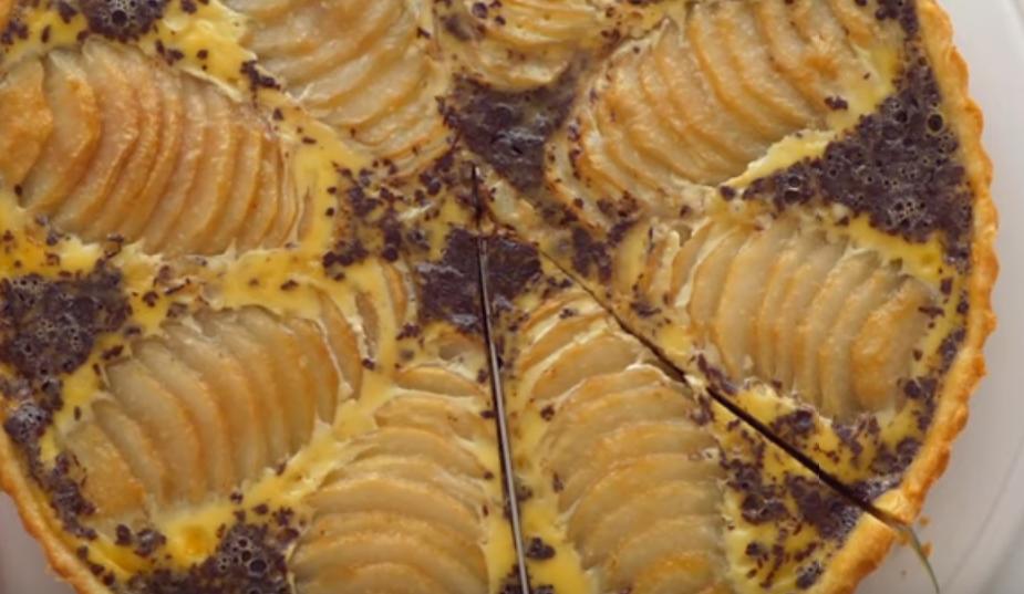 Превосходный пирог с грушами и шоколадом