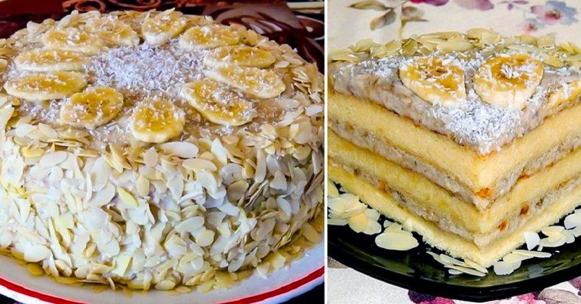 Божественный бисквитный банановый торт