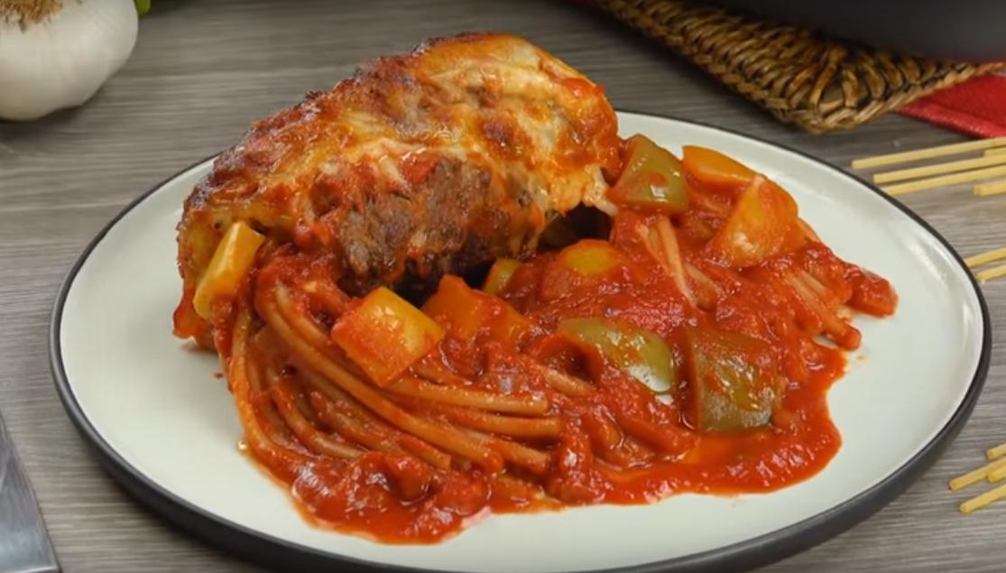 Потрясающее блюдо из спагетти и фарша