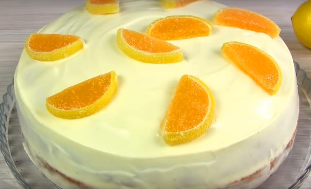 Нежный и воздушный лимонный тортик к чаю