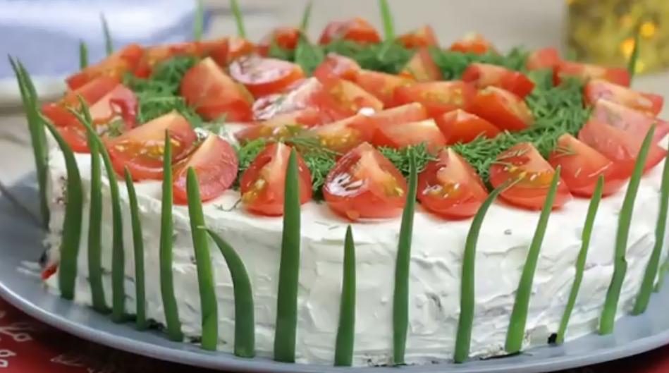Невероятно вкусный и красивый закусочный торт к праздничному столу