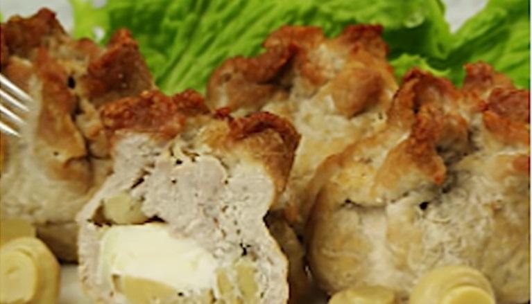 Мясные мешочки с грибами:  необычный вкус и оригинальный вид
