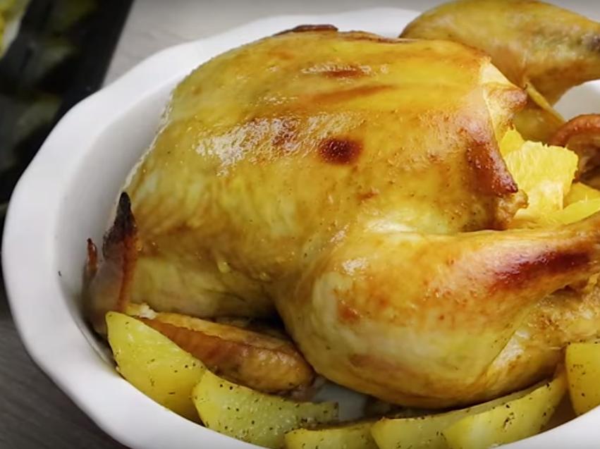 Курица, запеченная с картофелем и апельсинами