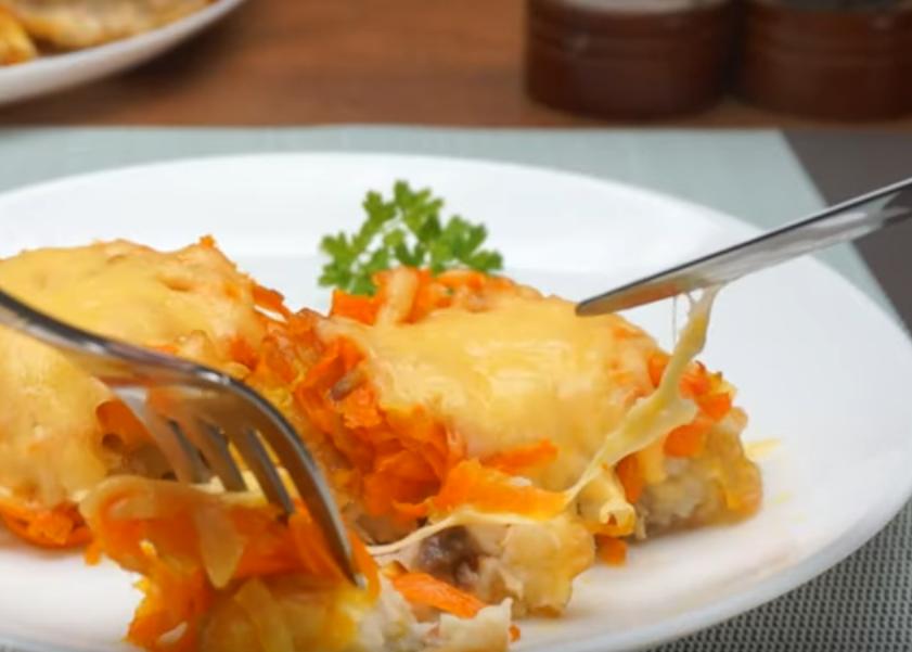 Хек под овощной шубкой - вкусное и легкое блюдо к праздничному столу