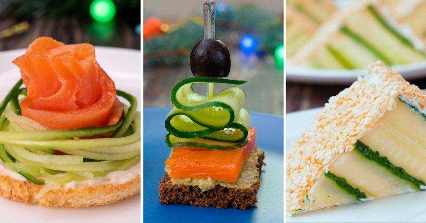 Праздничные бутерброды с огурцом: и оригинально, и очень вкусно