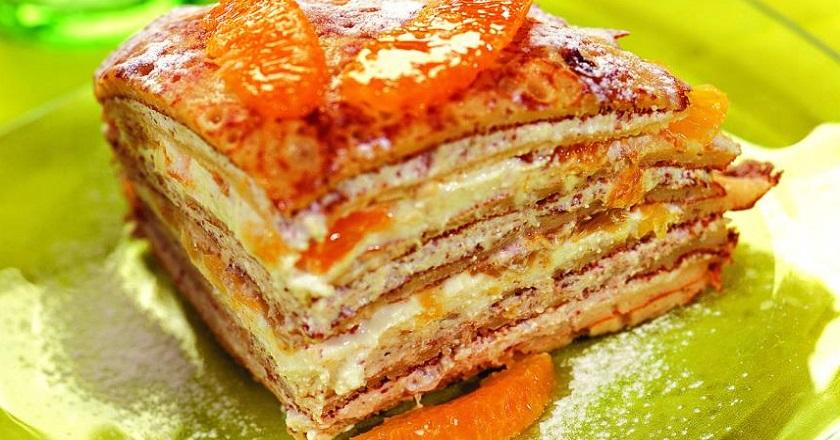 Блинный торт с апельсинами: изумительный десерт для праздничного стола