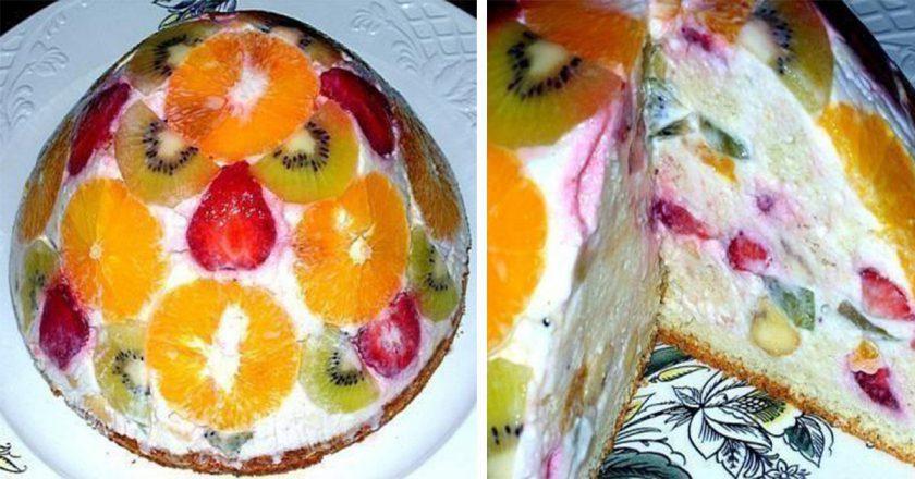 Обалденный бисквитно-фруктовый торт