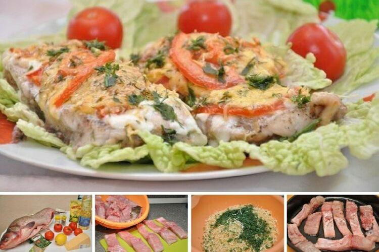 Вкуснейшая рыбка с сыром и помидорами