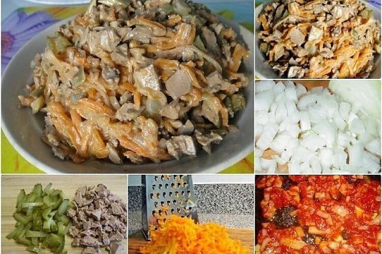 Вкуснейший салат «Диковинка» с отварной печенью