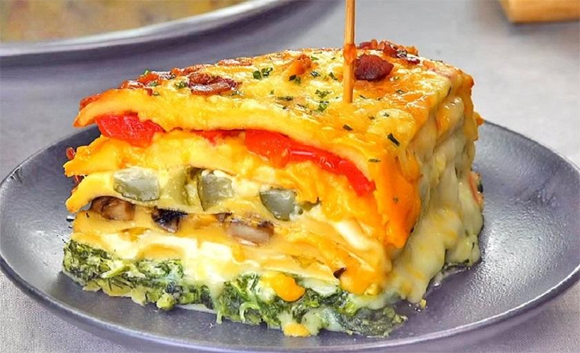Омлетный торт с овощами и сыром: на завтрак и на праздничный стол