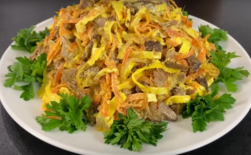 Простой обалденный салат с печенью