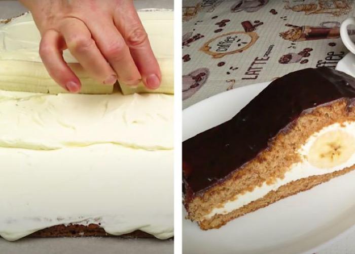 Мега вкусный шоколадно-банановый тортик