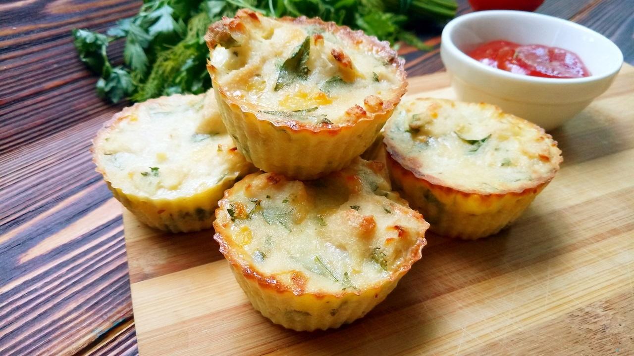 Аппетитные куриные маффины с сыром и зеленью