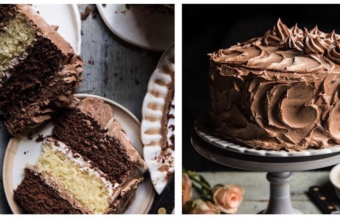 Шоколадно-ванильный бисквитный торт