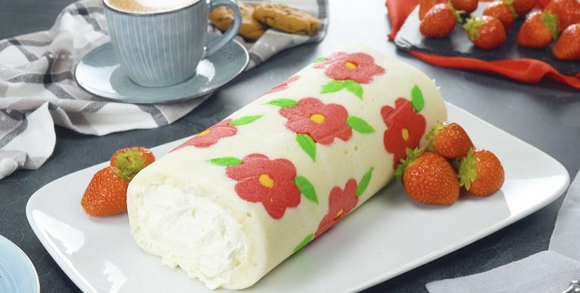 Бисквитный рулет с кремом и клубникой: цветочный декор покоряет воображение