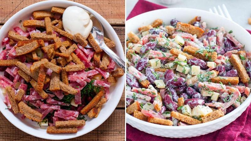 Аппетитный салат с фасолью и колбасой