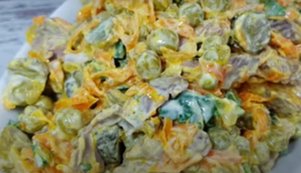 Вкусный салат из печенки