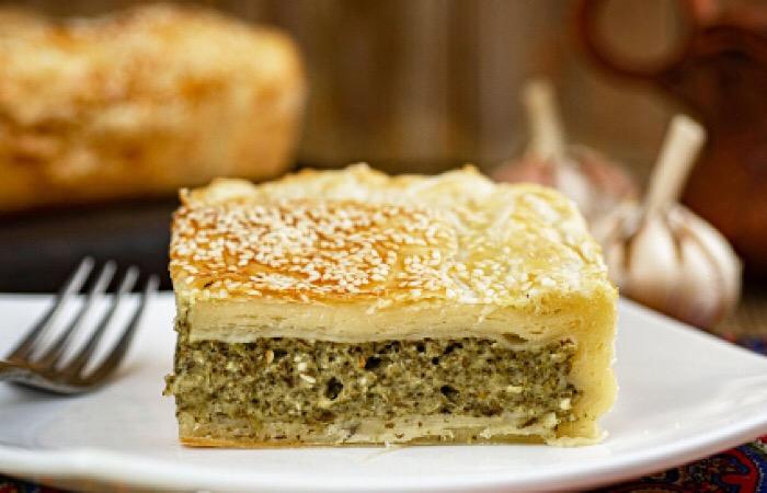Отменный пирог с творогом и шпинатом