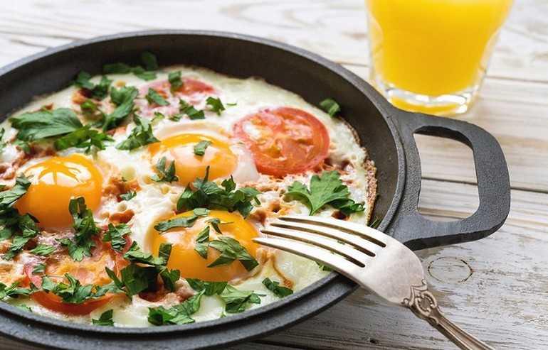 Вкуснейшая яичница с помидорами