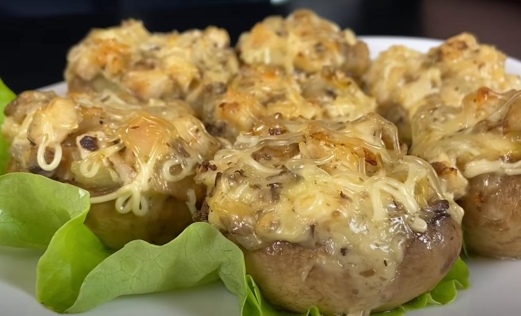 Аппетитные фаршированные грибочки