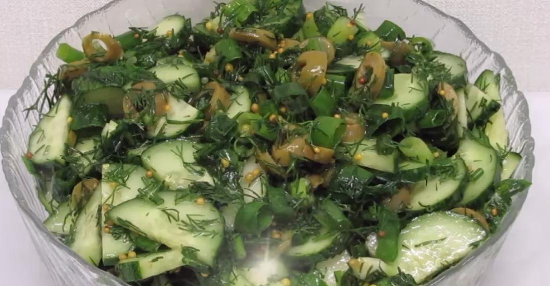 Огуречный салат за минуту