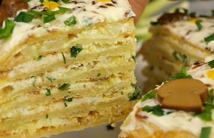 Вкуснейший закусочный торт из картофеля