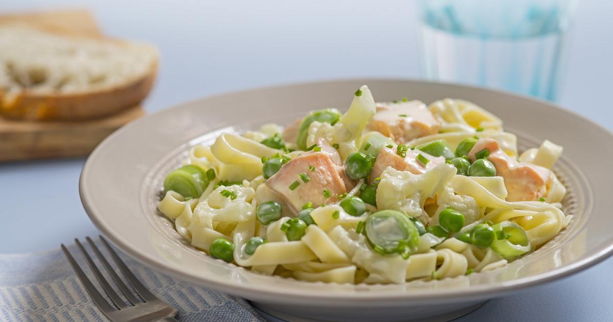 Вкуснейшая паста с лососем и зеленым горошком