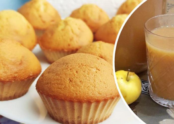 Очень вкусные бисквитные кексы с яблочным соком