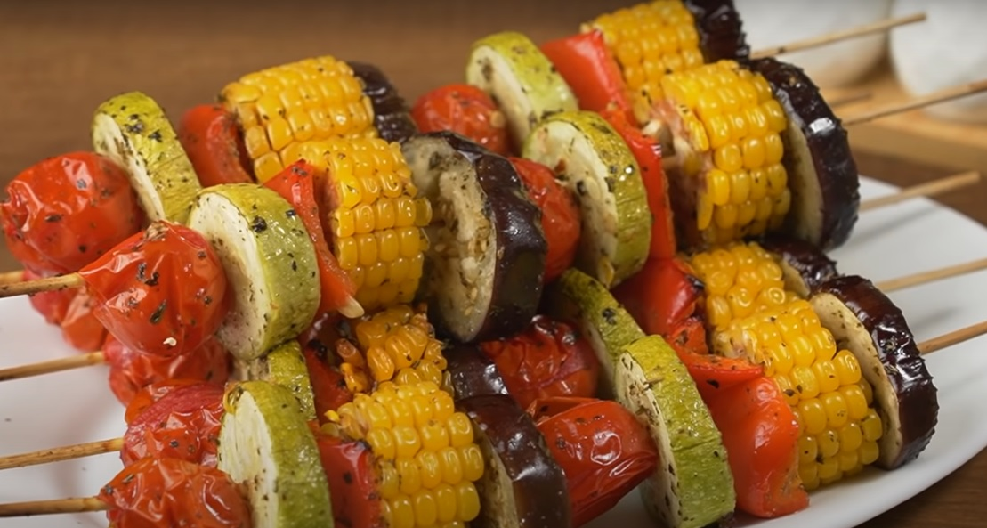 овощные шашлычки на шпажках в духовке