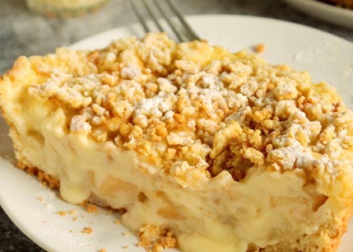 Нежнейший тертый яблочный пирог с заварным кремом