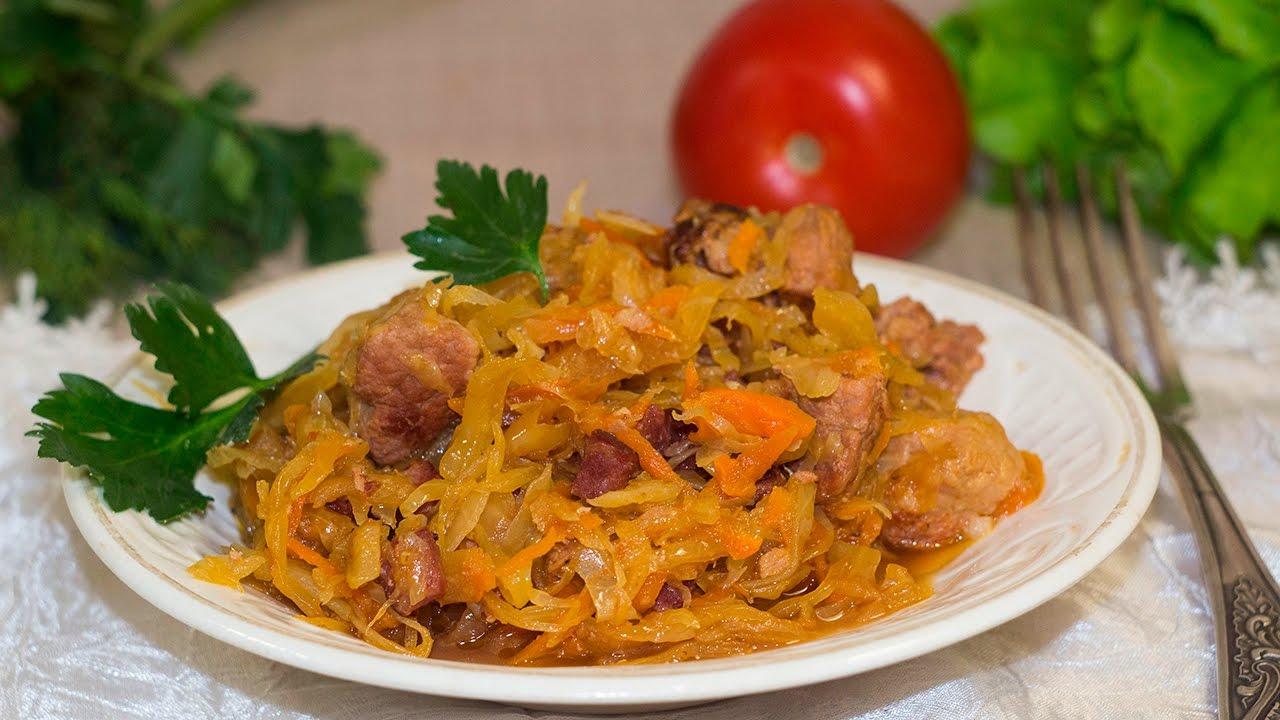 Картофель с квашеной капустой и мясом